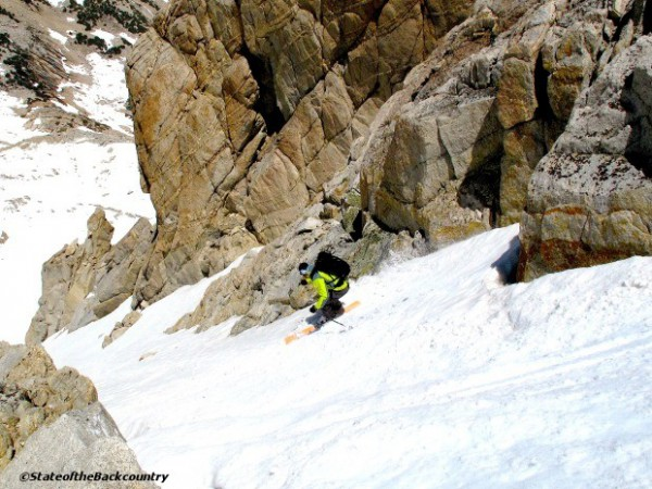 "The author skiing the rider's right branch of the ""Y Couloir""."