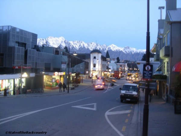 The Remarkables as seen from downtown Queenstown.